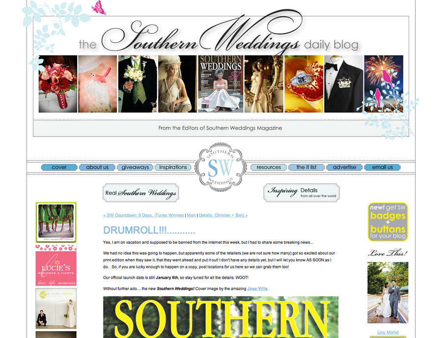 The Southern Weddings Daily Blog has a section called Love This